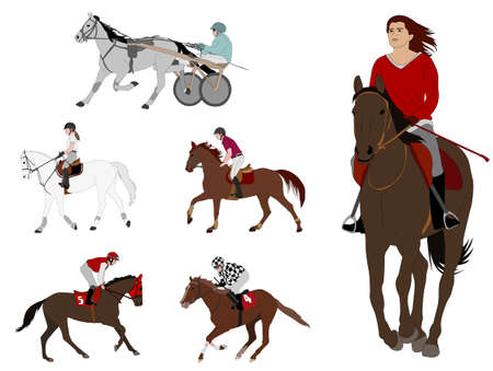 equestrian sports. harness racing, horse racing,recreational riding,dressage - vector illustration