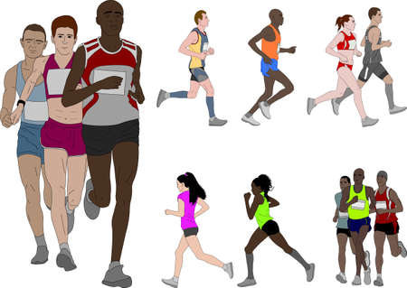 people running, detailed color illustration