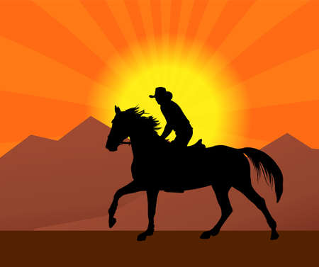 cowboy riding a horse in a sunset silhouette - vector