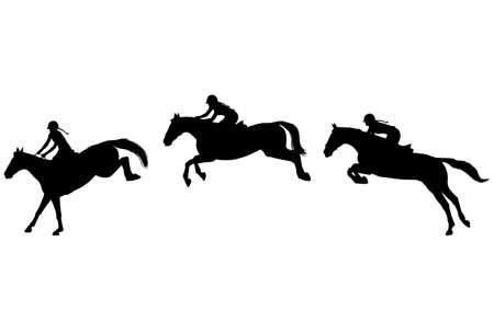 Horse rider jump in three steps, Jumping show Stock Illustratie