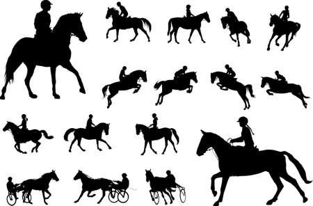 collezione di sagome di equitazione. Sport equestri e ricreazione sagome - vector Vettoriali