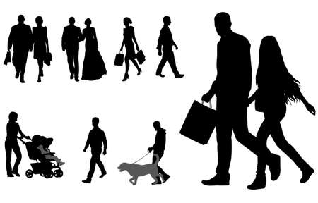 people walking silhouettes collection - vector Ilustração