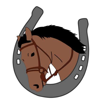 horse head in horseshoe, logo design - vector