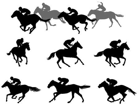 race horses and jockeys silhouettes collection - vector