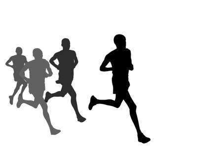 group of marathon runners silhouettes - vector