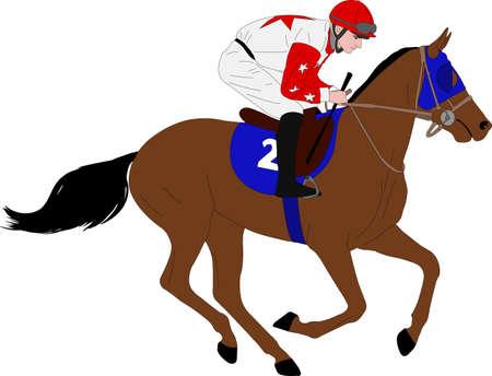 jockey riding race horse illustration 7 - vector