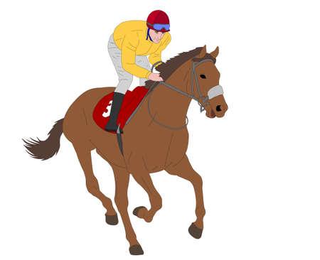 jockey riding race horse illustration - vector Ilustração