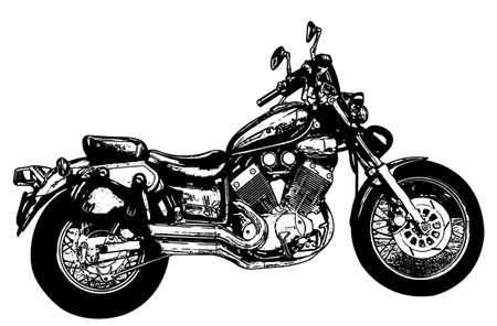 sketch illustration of vintage motorcycle - vector Vettoriali