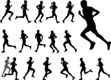 marathon runners silhouettes set- vector
