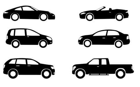 Auto-Silhouetten-Set - Vektor Vektorgrafik