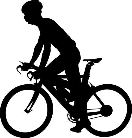 racing bicyclist silhouette - vector