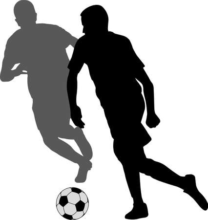 two soccer players kicking football in duel silhouette - vector