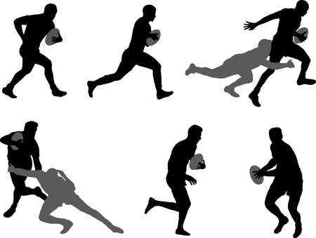 rugby players silhouettes set - vector