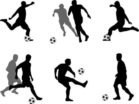 soccer players silhouettes collection - vector Çizim