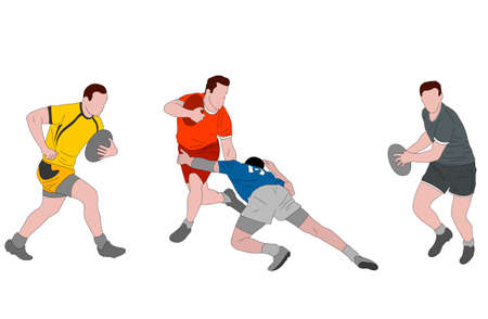rugby players detailed color illustration - vector