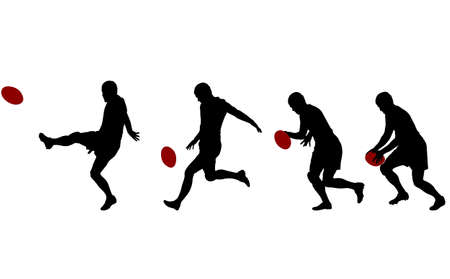 rugby player kicking ball in four steps silhouettes - vector