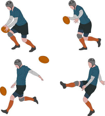 rugby player kicking ball in four steps color illustration - vector Ilustrace