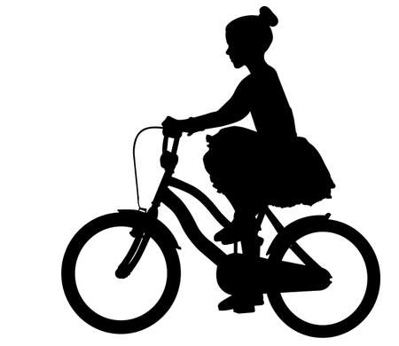 little girl in a dress riding bicycle silhouette - vector