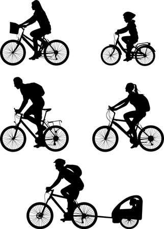 bicyclist silhouettes collection - vector illustration Ilustração