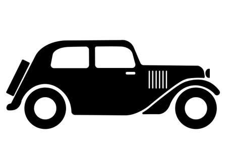 vintage car symbol, classic vintage car icon - vector