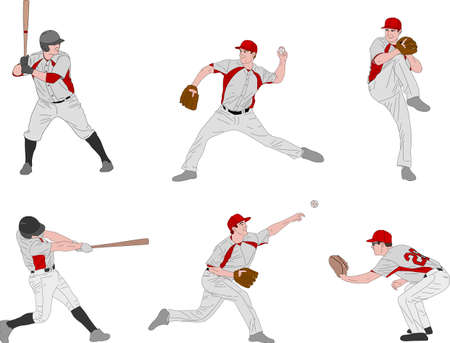 baseball players detailed color illustration - vector 向量圖像