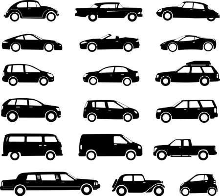 cars silhouettes collectio, simple icons - vector Vettoriali