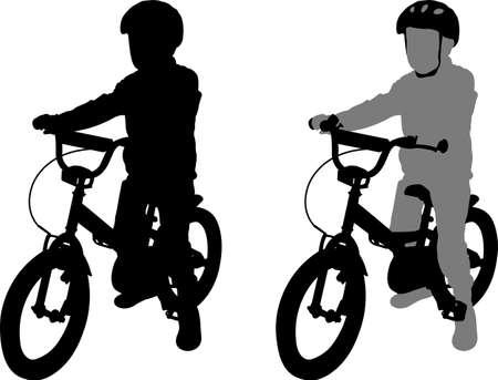 preschooler bicyclist silhouette - vector