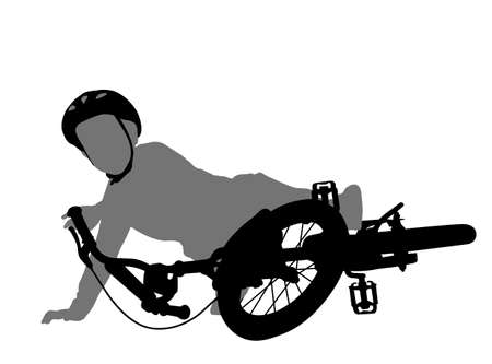 child fell off bike silhouette - vector