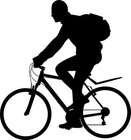man riding bicycle silhouette- vector