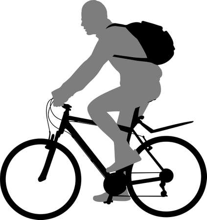 man riding bicycle silhouette - vector