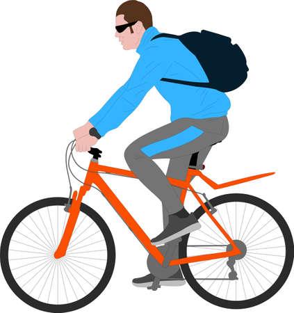 man ruding bicycle - vector illustration Ilustração