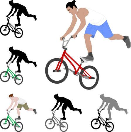 bmx stunt bicyclist silhouette and color illustration - vector Ilustração