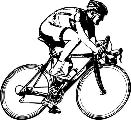race bicyclist sketch - vector