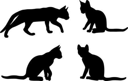 cat silhouettes set - vector artwork