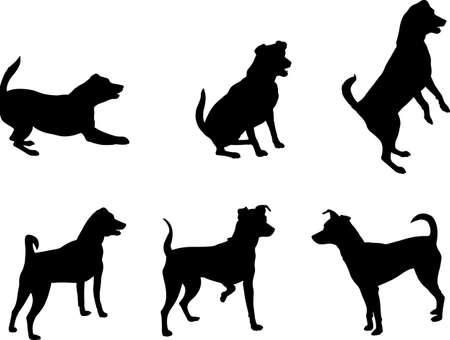 mini pinscher dog silhouettes set - vector artwork