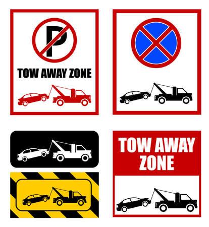 tow away zone, no parking sign - vector illustration Ilustração