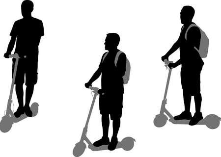 man riding electric scooter silhouettes set - vector Ilustração