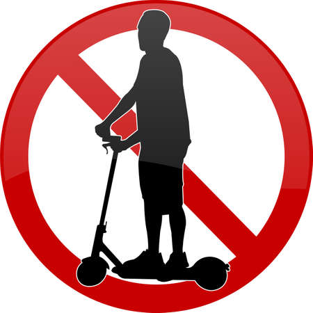 no electric scooters sign - vector