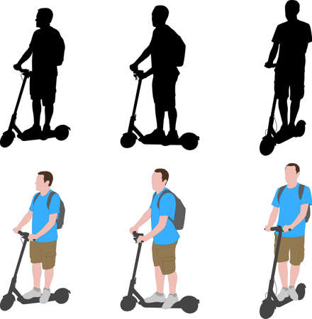 man riding electric scooter silhouettes and color illustration - vector Ilustração