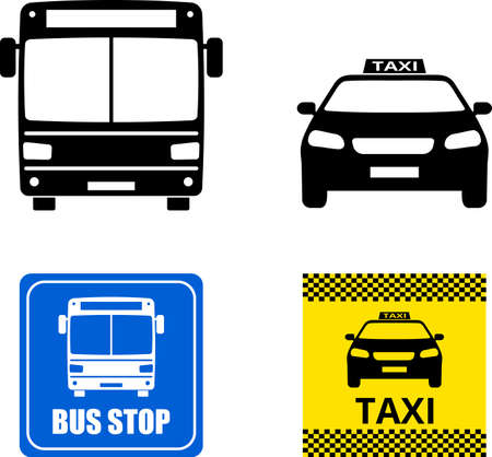public transportation icons and signs - vector Ilustração