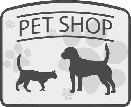 pet shop emblem - vector illustration