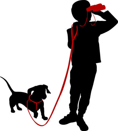 boy holding binoculars and his dog silhouette - vector