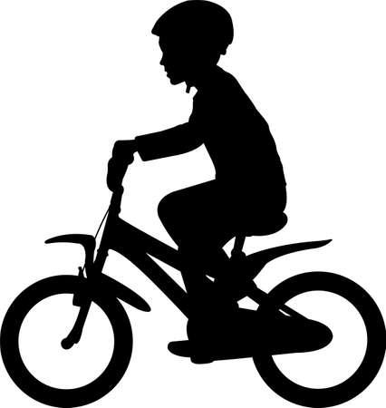 young boy riding bicycle silhouette - vector Ilustração