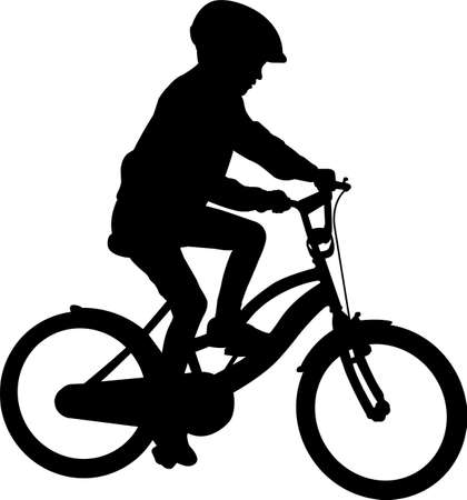 school child bicyclist silhouette - vector