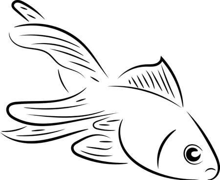 goldfish line art design - vector Ilustração