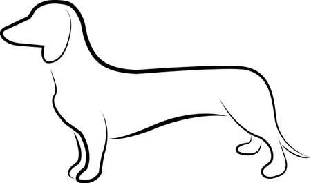 Dachshund dog line art