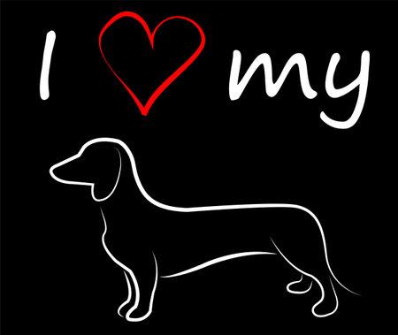 I love my Duchshund - vector