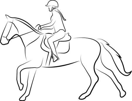 horse riding line art -  vector