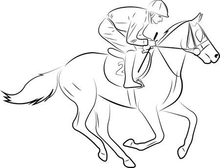 jockey riding horse line art illustration - vector Ilustração