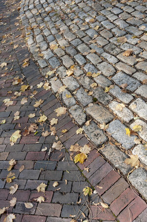 oz: Autumn Brick Road with Yellow Leaves Stock Photo